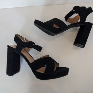 Target black faux suede chunky heeled sandals
